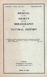 "The first issue of ""The Journal of the Society for the History of Natural History"", 17 October 1936."